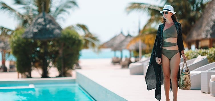 a woman on hotel pool